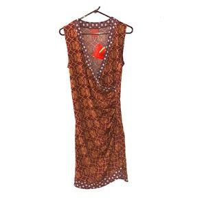 Mid length faux wrap dress